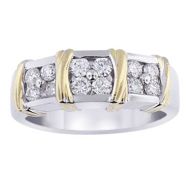 14K Two-Tone Diamond Band