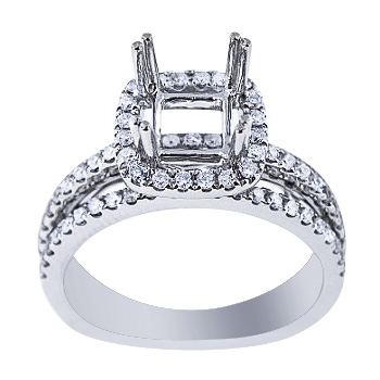 SJ2500PHSA - 14K White Gold Diamond Halo Design Engagement Ring