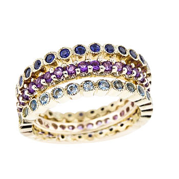 SJ2501SAMBZ - 14K Yellow Gold Sapphire, Blue Zircon, and Amethyst Eternity Bands