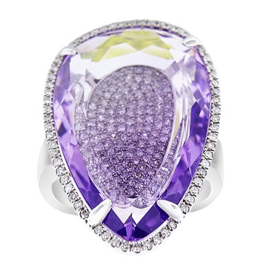 14K White Gold Diamond and Amethyst Halo Ring 15.79 Carats