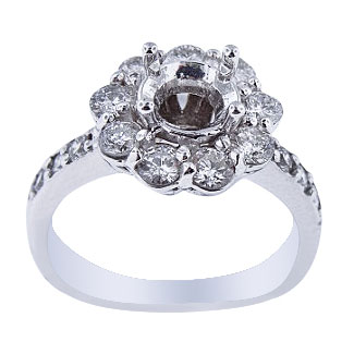 14K White Gold Diamond Halo Prong Set Engagement Ring 1.00 Carats
