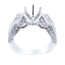18K White Gold Antique Design Diamond Engagement Ring
