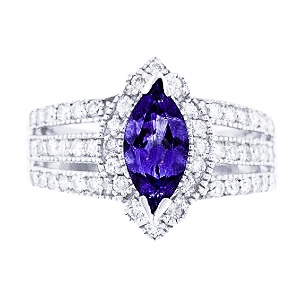 14K White Gold Natural Tanzanite and Diamond Antique Design Ring