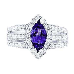14K White Gold Natural Tanzanite and Diamond Antique Design Ring
