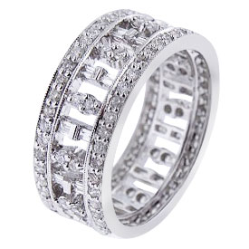 18K White Gold Baguette and Round Brilliant Diamond Band