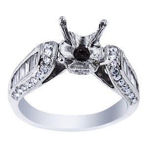 SJ3000ATDER - 18K White Gold Antique Design Engagement Ring