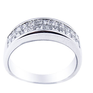 18K White Gold Diamond Invisible Setting Band 5MM