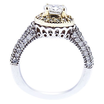 14K TwoTone Oval Shape Center Stone Halo Engagement Ring 111 Carats