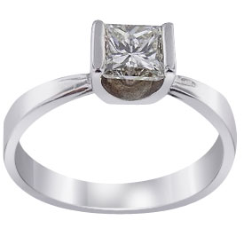 14K Princess Cut Diamond Solitaire Ring