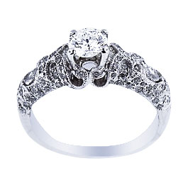 14K White Gold Antique Design Engagement Ring 1.25 Carats