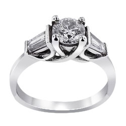 14K White Gold Three Stone Diamond Wedding Ring 1.29 Carats
