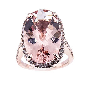 14K Rose Gold Diamond and Morganite Center Stone Ring