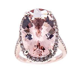 14K Rose Gold Diamond and Morganite Center Stone Ring