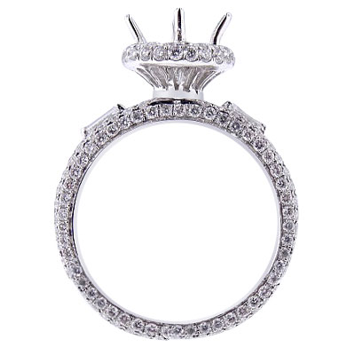 14K White Gold Diamond Antique Halo Engagement Ring 1.16 Carats