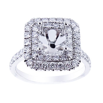 18K White Gold Diamond Double Halo Engagement Ring 1.00 Carats