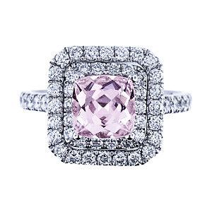 14K White Gold Cushion Cut Natural Morganite and Diamond Engagement Ring