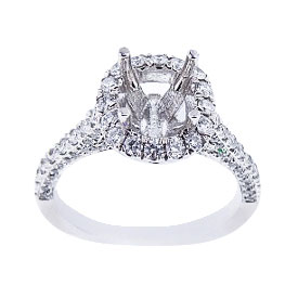 14K White Gold Diamond Antique Design Diamond Engagement Ring 1.10 Carats