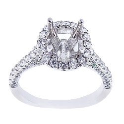 14K White Gold Diamond Antique Design Diamond Engagement Ring 110 Carats