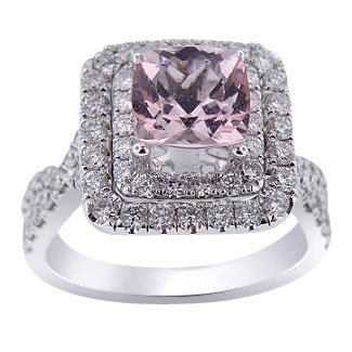 18K White Gold Cushion Cut Natural Morganite and Diamond Engagement Ring