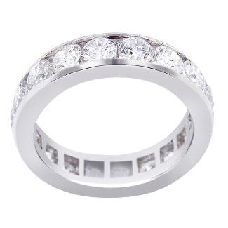 14K White Gold Diamond Eternity Channel Set Band 3.30 Carats 5MM