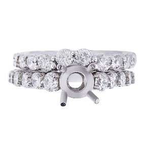 14K White Gold Diamond Eternity Prong Set Wedding Set