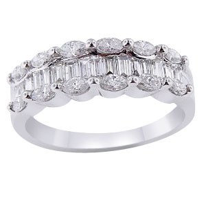 18K White Gold 1.10 Carat Diamond Marquise and Baguette Band