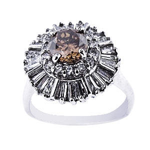 14K White Gold Natural Champagne Center Stone Diamond Ring 217 Carats