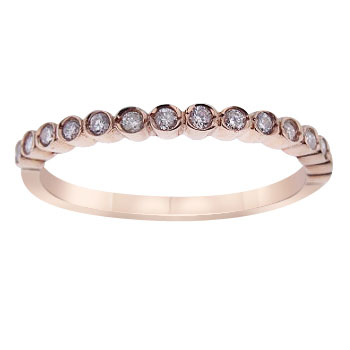 14K Rose Gold Bezel Set Half Eternity Band