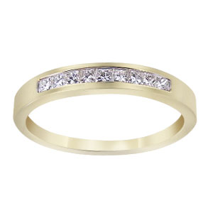 14K Yellow Gold Half Eternity Diamond Princess Cut Channel Set Band 3MM