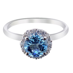 14K White Gold Diamond and Blue Topaz Halo Engagement Ring
