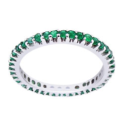 14K Full Eternity Natural Emerald 1.07 Carats Round Band