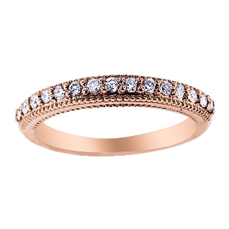 SJ812RPB - 14K Rose Gold Prong Set Art Deco Diamond Band