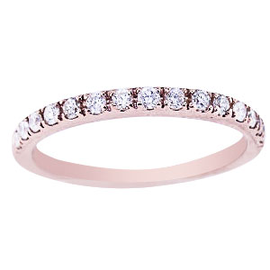 14K Rose Gold Diamond Prong Set