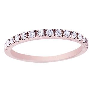 14K Rose Gold Diamond Prong Set