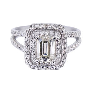 14K White Gold Emerald Cut Center Stone Halo Ring 239 Carats