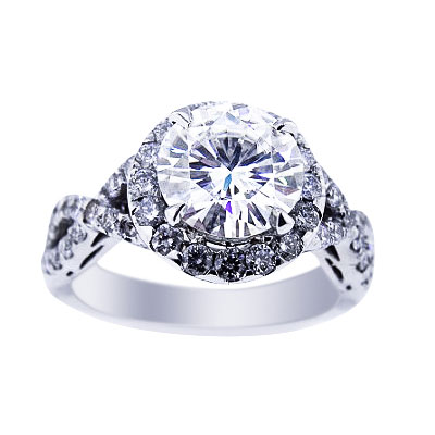 4K White Diamond Halo 8mm Round Forever Brilliant Charles and Colvard Moissanite Engagement-Ring