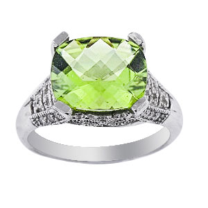 SJ940P - 14K White Gold Diamond and Peridot Antique Design Ring 384 Carats