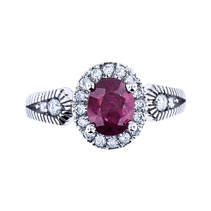 SJ960RRWG - 14K White Gold Natural Ruby and Diamond Halo Ring