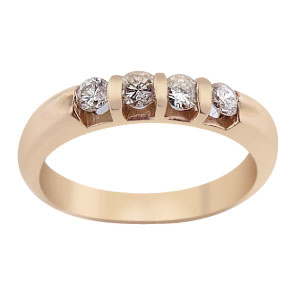 14K Rose Gold Diamond Band 0.39 Carats