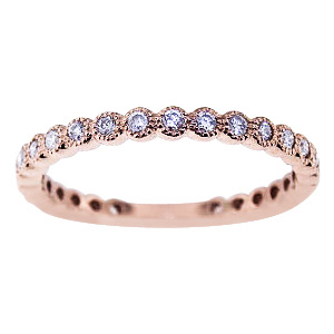 SJ990TCB - 14K Rose Gold Diamond Bezel Set 3/4 Eternity Band