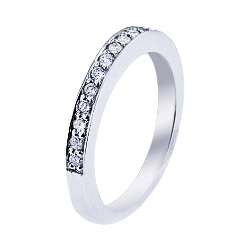 SJ992CSPSDB - 14K White Gold Half Eternity Diamond Band