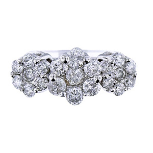 14K White Gold Round Invisible Diamond 1.56 Carats Cluster 3 Stone
