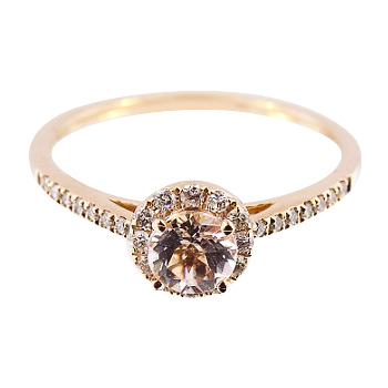 14K Rose Gold Diamond and Natural Morganite Halo Engagement Ring