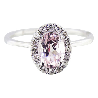 14K White Gold Diamond and Natural Morganite Halo Engagement Ring