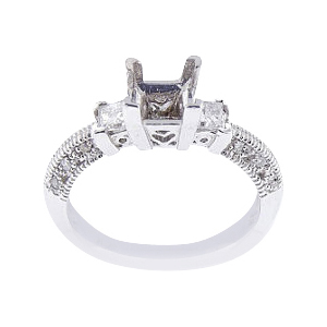 14K White Gold Three Stone Antique Design Engagement Ring